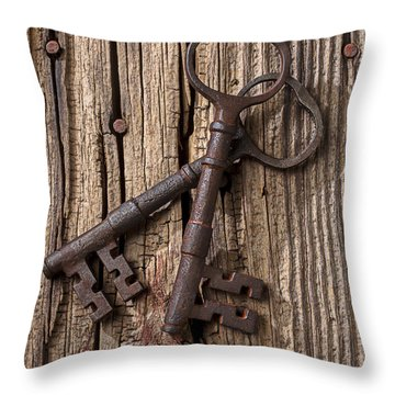 Two Old Skeletons Keys Throw Pillow by Garry Gay