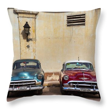 Throw Pillow featuring the photograph Two Old Vintage Chevys Havana Cuba by Charles Harden