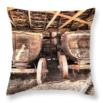 Throw Pillow featuring the photograph Two Old Wagons by Jeff Swan
