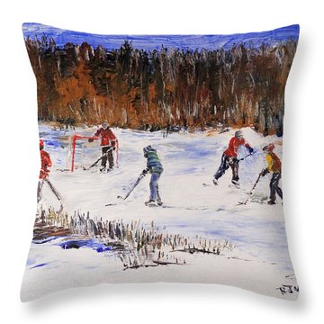 Two On Two On The Frozen Pond Throw Pillow