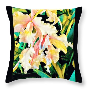 Two Orchids Pink Turquoise Throw Pillow