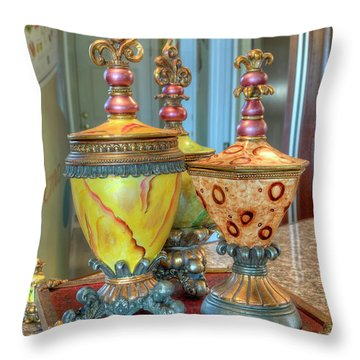 Two Ornate Colorful Vases Or Urns Art Prints Throw Pillow