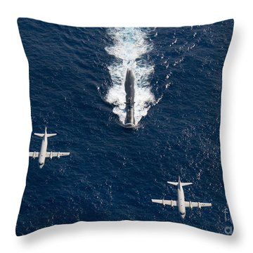 Throw Pillow featuring the photograph Two P-3 Orion Maritime Surveillance by Stocktrek Images