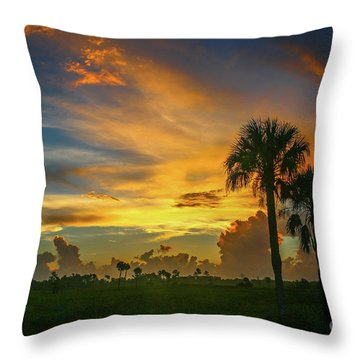 Two Palm Silhouette Sunrise Throw Pillow