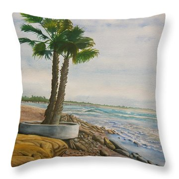 Throw Pillow featuring the painting Two Palms by Teresa Beyer
