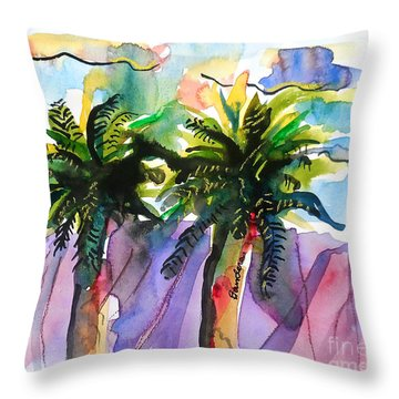 Throw Pillow featuring the painting Two Palms by Terry Banderas