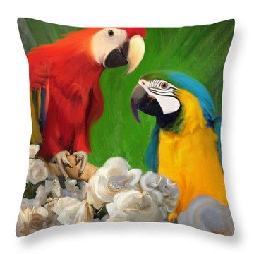 Two Parrots And White Roses Throw Pillow by Julianne  Ososke
