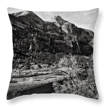 Two Peaks - Bw Throw Pillow by Christopher Holmes