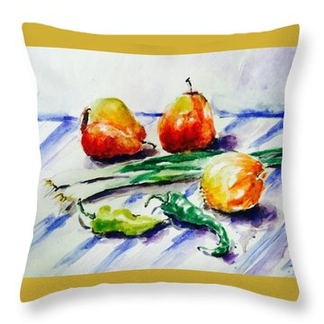 Two Pear And Vegetable Throw Pillow by Hae Kim