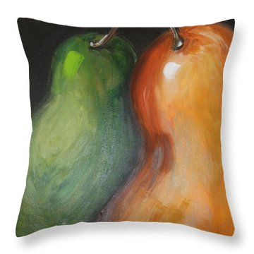 Throw Pillow featuring the painting Two Pears by Jolanta Anna Karolska