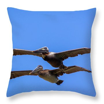 Two Pelicans Over The Beach Throw Pillow