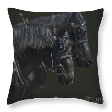 Two Percherons Throw Pillow