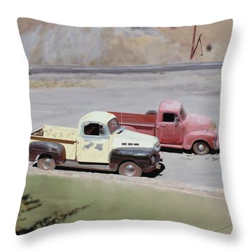 Two Pickups Throw Pillow