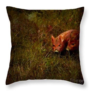 Two Piglets Throw Pillow by Angel  Tarantella