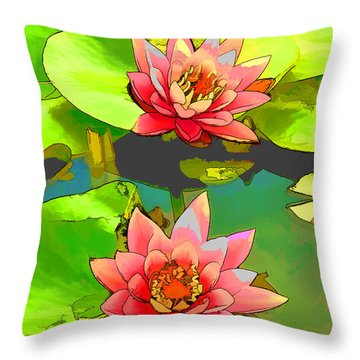 Two Pink Blooming Water Lilies  Throw Pillow by Lanjee Chee