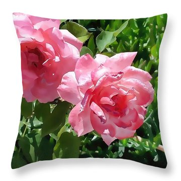 Two Pink Roses Version 1 Throw Pillow