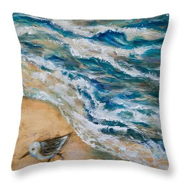 Two Pipers Along Shore Throw Pillow by Linda Olsen