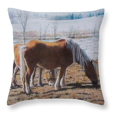 Two Ponies In The Snow Throw Pillow