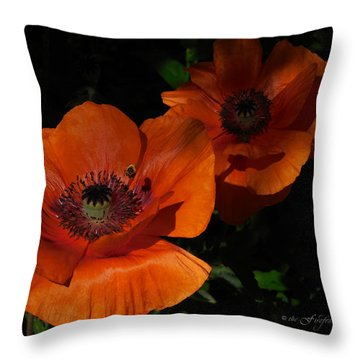Two Poppies  And A Bee Throw Pillow