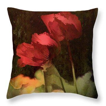 Two Poppies Throw Pillow by Elaine Teague