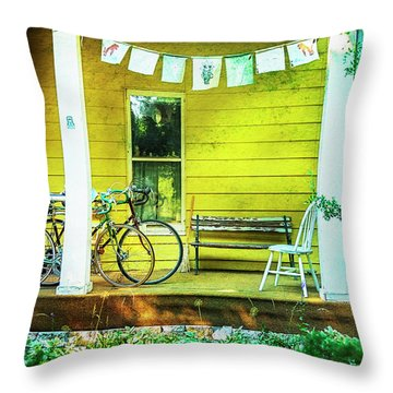 Throw Pillow featuring the photograph Two Porch Bicycles by Craig J Satterlee