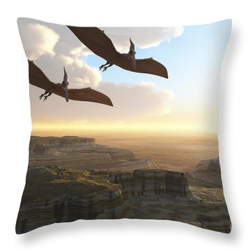 Two Pterodactyl Flying Dinosaurs Soar Throw Pillow by Corey Ford