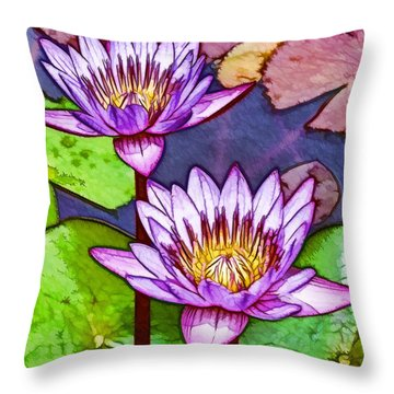 Two Purple Lotus Flower Throw Pillow by Lanjee Chee