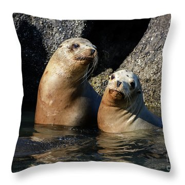 Two Quiet Sea Lions Throw Pillow