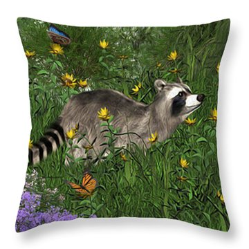Two Raccoons  With Butterflys Throw Pillow by Walter Colvin