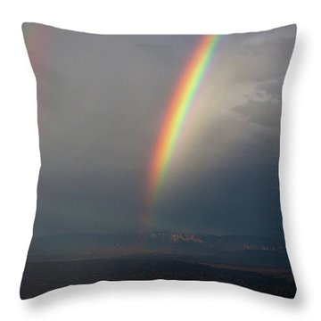 Two Rainbows Throw Pillow