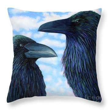 Two Ravens Throw Pillow