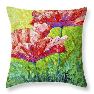 Two Red Poppies Throw Pillow
