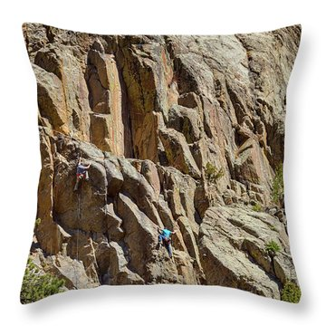 Throw Pillow featuring the photograph Two Rock Climbers Making Their Way by James BO Insogna