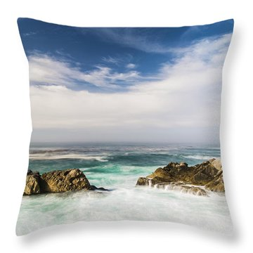 Throw Pillow featuring the photograph Two Rocks In The Pacific Ocean by Jingjits Photography
