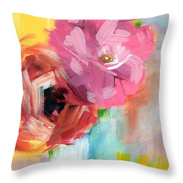 Two Roses- Art By Linda Woods Throw Pillow