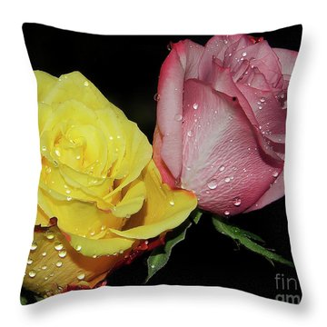 Throw Pillow featuring the photograph Two Roses by Elvira Ladocki