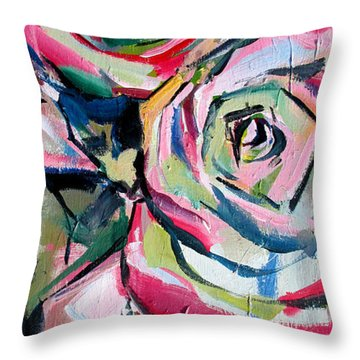 Throw Pillow featuring the painting Two Roses by John Jr Gholson
