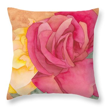 Two Roses Throw Pillow by Ken Powers