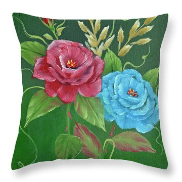 Throw Pillow featuring the painting Two Roses Red And Blue by Jimmie Bartlett