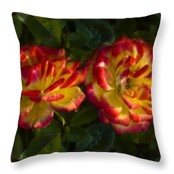 Two Roses Throw Pillow by Svetlana Sewell