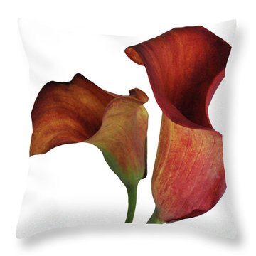 Two Rust Calla Lilies Square Throw Pillow by Heather Kirk