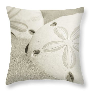 Two Sand Dollars Rest In The Sand Throw Pillow