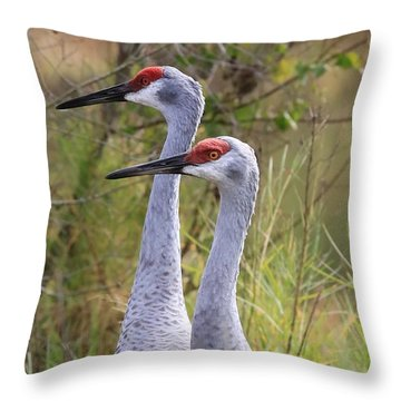 Two Sandhills In Green Throw Pillow