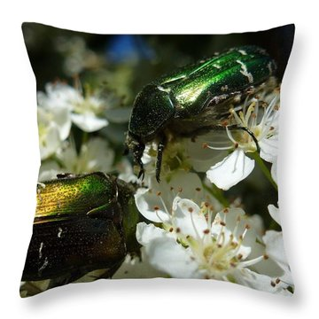 Throw Pillow featuring the photograph Two Scarabs Metallic Green by Jean Bernard Roussilhe