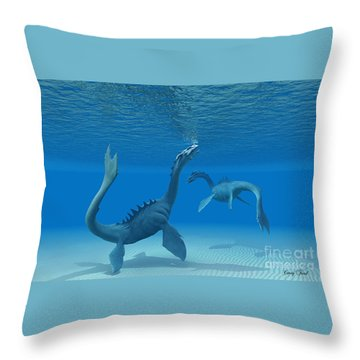 Two Sea Dragons Throw Pillow by Corey Ford