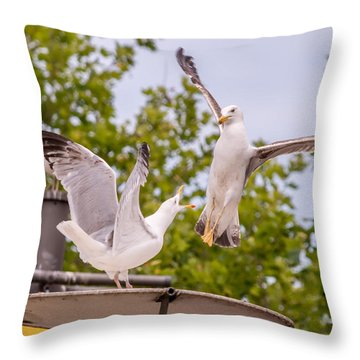 Two Seabird Fighting Throw Pillow