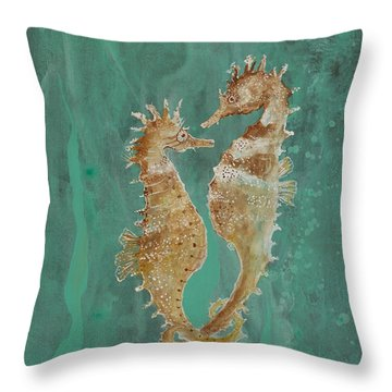 Two Seahorse Lovers Throw Pillow