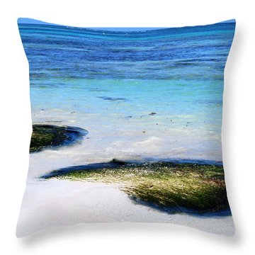 Two Seaweed Mounds On Punta Cana Resort Beach Throw Pillow by Heather Kirk