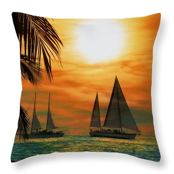 Two Ships Passing In The Night Throw Pillow by Bill Cannon