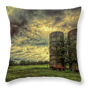 Throw Pillow featuring the photograph Two Silos by Lewis Mann